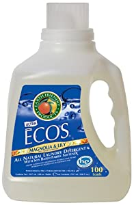Earth Friendly Products ECOS 2x Liquid Laundry Detergent With Built in Softener, Magnolia & Lily, 100 Loads, 100-Ounce Bottle (Pack of 4)