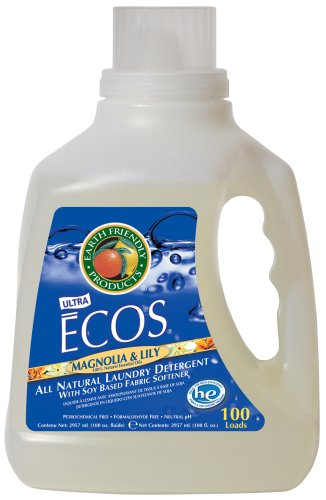 Earth Friendly Products Ecos Liquid Laundry Detergent, Magnolia & Lily, 100-Ounce Bottle (Pack of 4)