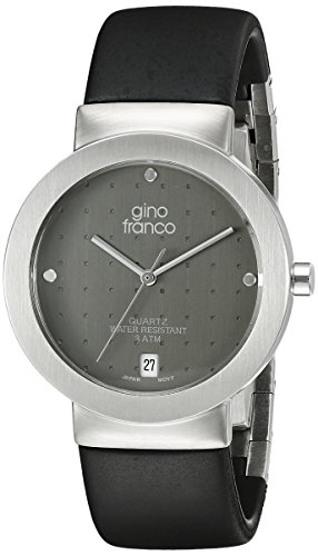 gino franco Men's 993GY Round Stainless Steel Case and Rubber Strap Watch