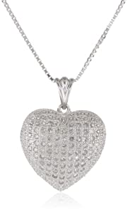 """Sterling Silver Pave Diamond Heart Pendant Necklace (1/2 cttw, I-J Color, I2-I3 Clarity), 18"""""""