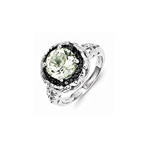 Sterling Silver Green Quartz and Black Diamond Ring, Size 6, (0.2 ctw, I1-I2 Clarity), Rings for Women