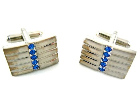 Joseph Abboud Silver Rectangle Cufflinks w/Sapphire Crystals