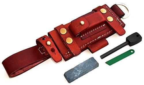 CFK Cutlery Company USA Custom Handmade Handcrafted Brown Bushcraft Tactical Tracker Knife Leather RIGHT HAND Horizontal-Vertical Belt Sheath Sharpening Stone Fire Starter Rod Set CFK93 NEW DESIGN (Buffalo Chopper Knife compare prices)