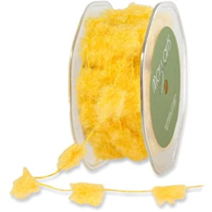 May Arts Ribbon, Yellow Fuzzy Pom Poms