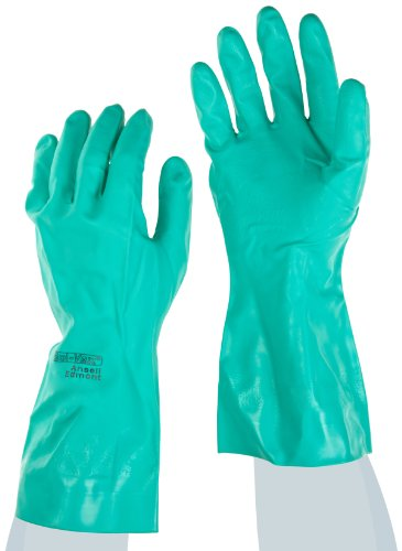 "Ansell Sol-Vex 37-155 Nitrile Glove, Chemical Resistant, Straight Cuff, 13"" Length, 15 Mils Thick, Large (Pack Of 12 Pairs)"