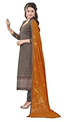 Khushali Presents Embroidered Georgette Dress Material (Grey)