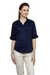 Zx3 Women's Strech Formal & Casual Shirt(Shirt_1022_XL_Navy Blue)