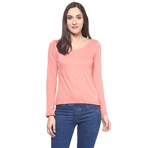 9Zeus Full Sleeves / Long Sleeves Round Neck Orange T-shirt for Women  available at amazon for Rs.298