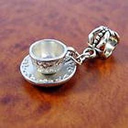 Pugs & Pandoras Tea Coffee Cup and Saucer Dangle Charm with Slider Bead fits European Charm Bracelet PP21750