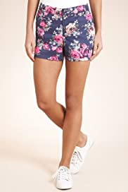 Cotton Rich Rose Print Chino Shorts [T54-7303-S]