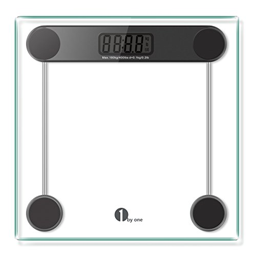 1byone-digital-body-weight-bathroom-scale-180kg-400lb-tempered-glass-and-step-on-technology-precisio