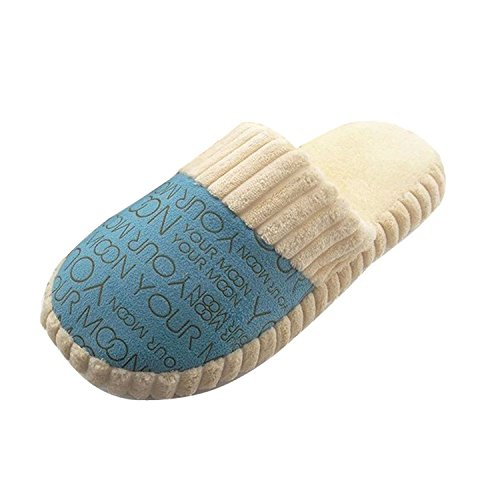 Minetom Coppia Pantofole Peluche Coral Fleece Pantofole Coppia Lettere Pantofola EUROPE Taglia ( Blu EU 38 )