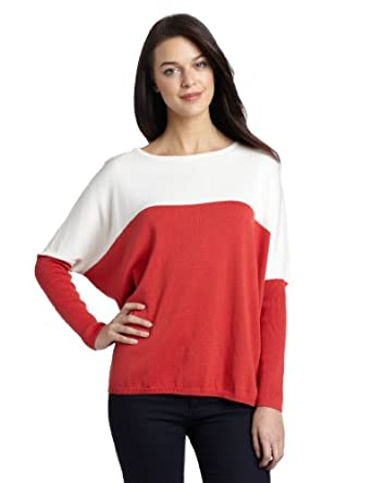 Vince Camuto Women's Colorblock Dolman Sleeve Boat Neck Sweater, Hot Coral, Medium/Large
