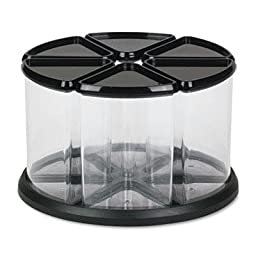 Deflect-O - 6 Canister Carousel Organizer Plastic 11 1/8 X 11 1/8 Black/Clear \
