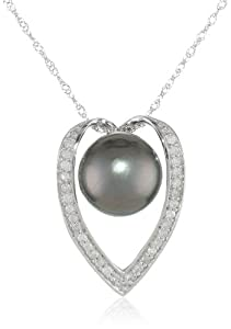 14k White Gold, Black Tahitian Cultured Pearl (9-9.5 mm), and Diamond Accent Pendant Necklace (1/6 Cttw, H-I Color, I2-I3 Clarity), 17