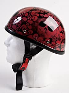 Novelty Low Profile Wine Skulls Eagle Motorcycle Helmet - Not DOT Approved - Not For Use As Safety Equipment, Medium