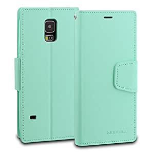Galaxy S5 Case, ModeBlu [Classic Diary Series] [Mint] Wallet Case ID Credit Card Cash Slots Premium Synthetic Leather [Stand View] for Samsung Galaxy S5