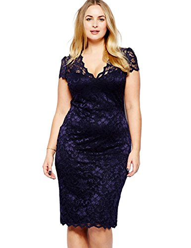 Yacun Women's Navy Blue Scalloped V-neck Lace Plus Size Midi Dress