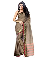 De Marca Brown Cotton Designer Asin Saree