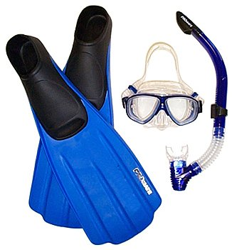 Mask, Semi Dry Snorkel, and Fin Package for Snorkeling Set Gear Travel Fins