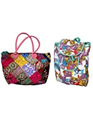 Indistar Combo Offer Women's Multicolor Cotton Handbag (Combo Pack Of 2) - B01IVWGVB0
