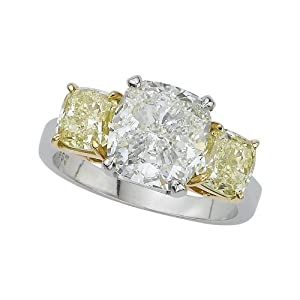 Platinum 6 ct. Yellow and White Cushion Cut GIA Certfied Diamond Ring