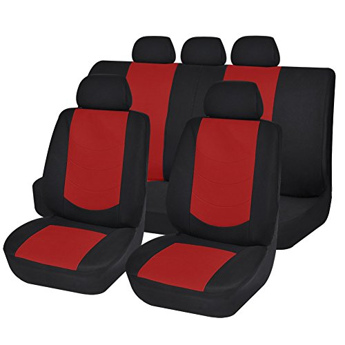 New Car Seat Covers Airbag Compatible Universal Fit by Autoanyway 11-pc Set(Red Color) (Chevy Cruze Red Seat Covers compare prices)