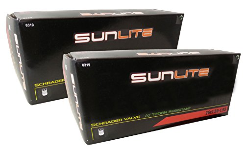 2 PACK - Sunlite Thorn Resistant Bicycle Tube 26 x 1.50-1.95 SCHRADER Valve - Save more than $2.00 with this Value Pack! (Puncture Resistant Inner Tube compare prices)