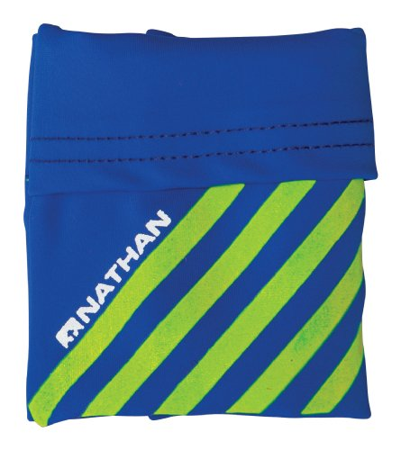 Nathan Reflective Wrist Runner 2 Fold Pocket, Electric Blue/Safety Yellow, One Size