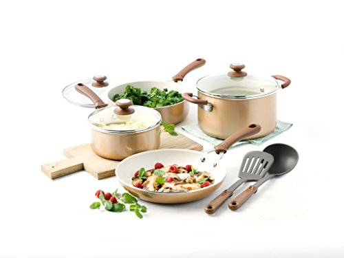 Trisha Yearwood Cottage Precious Metals 14 Piece Non-Stick Ceramic Cookware Set, Copper