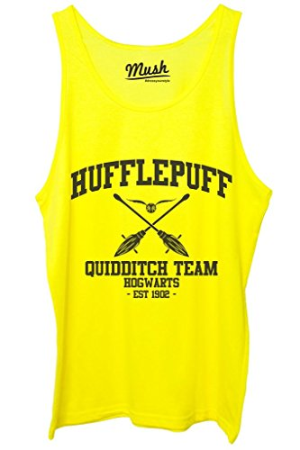 Canotta HUFFLEPUFF QUIDDITCH HARRY POTTER - FILM by Mush Dress Your Style - Donna-S-Giallo Fluo