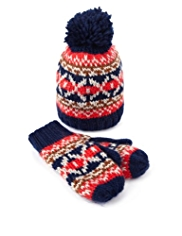 Fair Isle Knitted Hat & Mittens Set