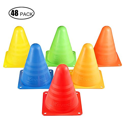 48_Pack Kevenz Thicker Soft Plastic Traffic Cones(Red,Blue,Green,Orange,Yellow) (Motorcycle Practice Cones compare prices)