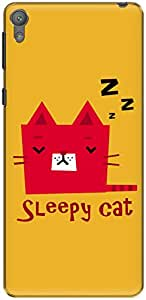 The Racoon Lean Sleepy Cat hard plastic printed back case/cover for Sony Xperia E5