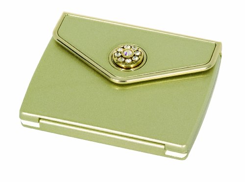 Danielle 5x Magnification Swarovski Crystal Envelope Compact Mirror - Champagne Gold or Mocha Gold