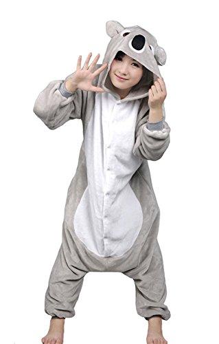 Tonwhar All In One Adult Sleepsuit Koala Kigurumi Cosplay Costume Pajamas (S(Height:148Cm/4.85'-159Cm/5.21'), Gray) front-478544