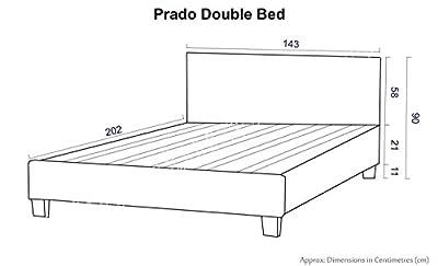 "4FT 6"" Double Faux Leather Bed Frame in Black Prado SUPERB VALUE"