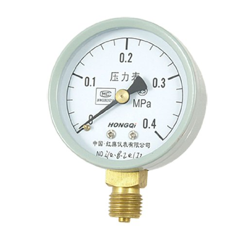 """0-0.4 Mpa Round Dial Pressure Measure Manometer For 0.55"""" Npt Pipe front-42237"""