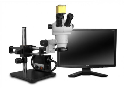 Scienscope Nz Series Hd Trinocular System With Led Fiber Optic Light Source And Dual Arm Boom Stand