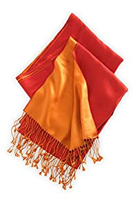 Asian Eye Two Sided Silk Scarf (Red/Orange)