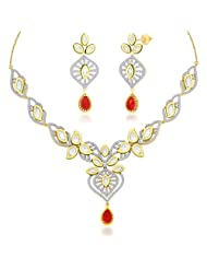 "Peora 18 Karat Gold Plated Kundan ""Anushri"" Necklace Earrings Set PN421GJ"
