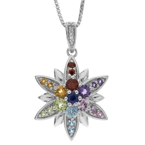 Sterling Silver Multi-Color Gemstone and Diamond Flower Pendant Necklace , 18