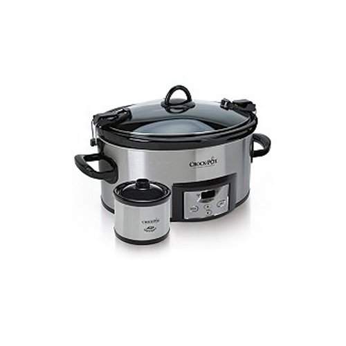 Crock Pot Quart Cook & Carry Slow Cooker with 16-Ounce Little Dipper Warmer - Stainless Steel, SCCPVL619-S 6- (Slow Cooker With Lid Lock compare prices)