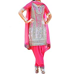 Reet Glamour Women 's Crepe Unstitched Deep Pink Heavy Embroidered Punjabi Suit