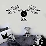 Vinyl Wall Decal Branches Birds Clock Leaves Kids Room Stickers Murals (vs4804)