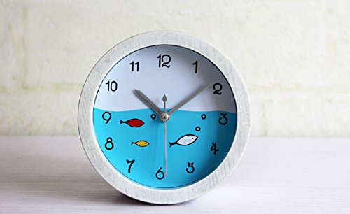 Apexshell (TM) Trendy Lovely Undersea World Fish Clock Face Minimalist Art Classic Small Round Slient Non-Ticking Travel Table Bedside Alarm Clock for Bedroom for Kids