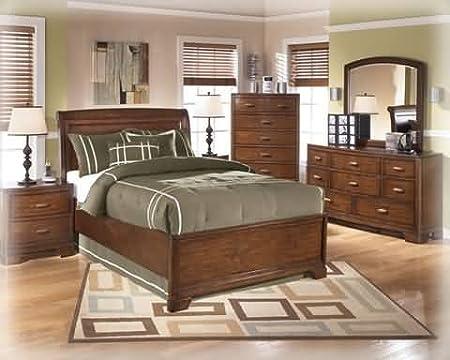 Best ashley furniture for sale ashley alea full sleigh bedroom set in brown finish for Ashley bedroom furniture for sale