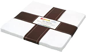 Robert Kaufman Kona Cotton Solids White Colorstory Ten-Square Layer Cake, Set of 42 10-inch (25.4cm) Precut Cotton Fabric Squares
