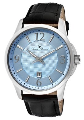 Lucien Piccard Men's 11566-012 Adamello Light Blue Textured Dial Black Leather Watch