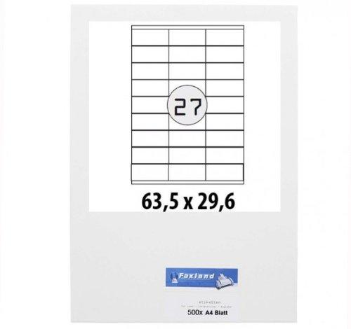 X 500 Feuilles a4 d'étiquettes 63, 5, 29 x 6 mm pour amazon fBA expédition, chaque page 63 x 27 x 29 étiquettes d'expédition blanches adhésives